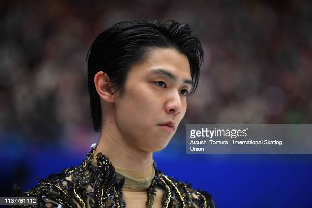 YuzuruHanyu of Japan looks on prior to competing in the Men Free Skating on day four of the 2019 ISU World Figure Skating Championships at Saitama...