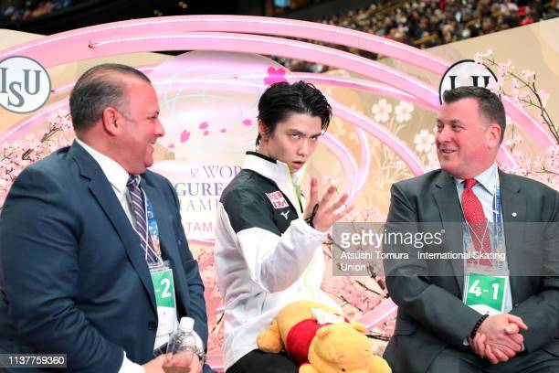 YuzuruHanyu of Japan reacts as he waits for his score at the kiss and cry after competing in the Men Free Skating on day four of the 2019 ISU World...