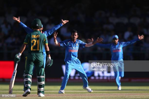Yuzvendra Chahal of India appeals successfully for LBW to get Heinrich Klaasen of South Africa wicket during the 3rd Momentum ODI match between South...