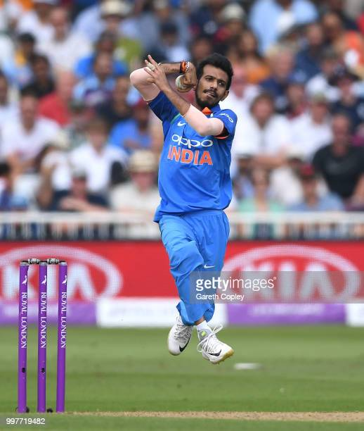 Yuzvendra Chahal of India bowls during the Royal London OneDay match between England and India at Trent Bridge on July 12 2018 in Nottingham England