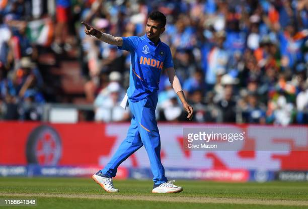 Yuzvendra Chahal of India celebrates dismissing Jason Holder of West Indies during the Group Stage match of the ICC Cricket World Cup 2019 between...