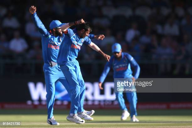 Yuzvendra Chahal of India celebrates getting Heinrich Klaasen of South Africa wicket during the 3rd Momentum ODI match between South Africa and India...