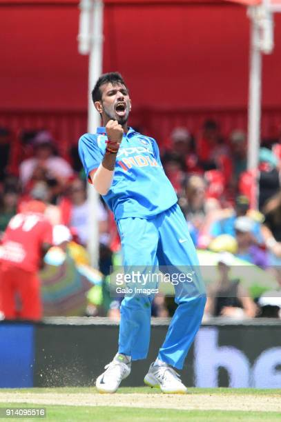 Yuzvendra Chahal of India celebrates the wicket of JP Duminy of the Proteas during the 2nd Momentum ODI match between South Africa and India at...
