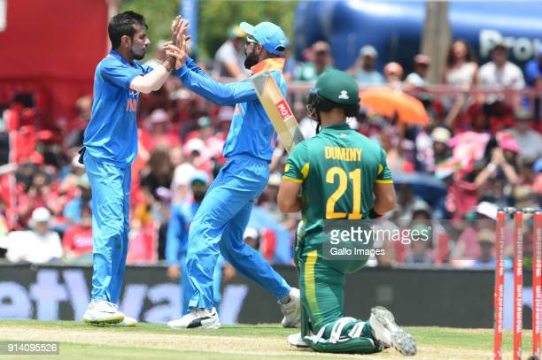 Yuzvendra Chahal of India celebrates the wicket of JP Duminy of the Proteas with Virat Kohli of India during the 2nd Momentum ODI match between South...