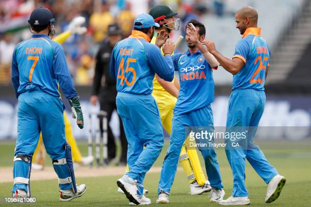 Yuzvendra Chahal of India celebrates the wicket of Marcus Stoinis of Australia during game three of the One Day International series between...