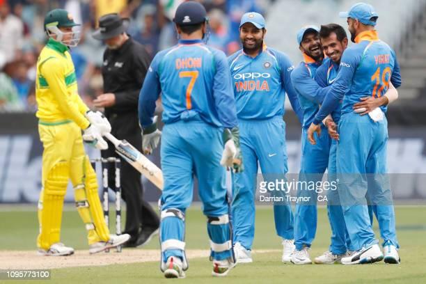 Yuzvendra Chahal of India celebrates the wicket of Usman Khawaja of Australia during game three of the One Day International series between Australia...