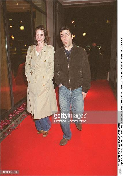 Yvan Attal and 'Charlotte Gainsbourg' preview of the movie 'Bon Voyage' by 'Jean Paul Rappeneau' in Paris woman man couple