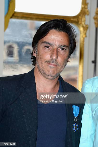 Yvan Attal poses after being honored 'Chevalier de l'Ordre National du Merite' by the French Minister for Culture Aurelie Filippetti at Ministere de...