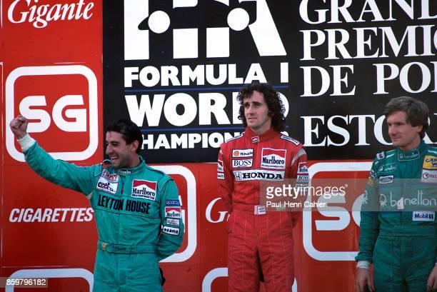 Yvan Capelli, Alain Prost, Thierry Boutsen, Grand Prix of Portugal, Autodromo do Estoril, September 25, 1988.