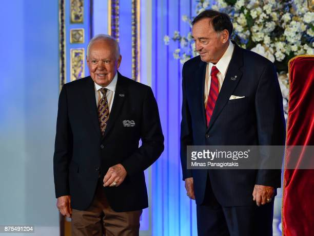 Yvan Cournoyer and Frank Mahovlich are introduced during the NHL Centennial 100 Celebration at the Windsor Hotel on November 17 2017 in Montreal...