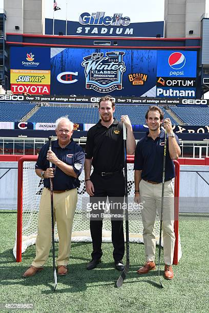 Yvan Cournoyer Jimmy Hayes and Brian Flynn help announce the 2016 NHL Winter Classic at the Gillette Stadium on July 29 2015 in Foxboro Massachusetts