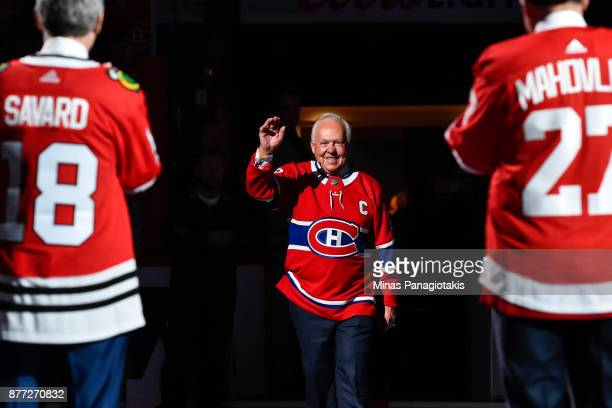 Yvan Cournoyer makes his way onto centre ice to join the alumni during the pregame ceremony prior to the NHL game between the Montreal Canadiens and...