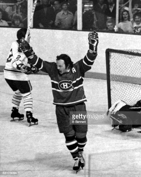 Yvan Cournoyer of the Montreal Canadiens raises his stick after scoring on the Buffalo Sabres during Game 4 of the 1973 Quater Finals on April 8 1973...