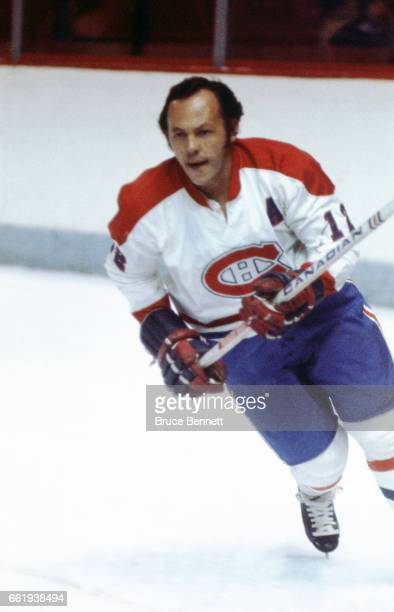 Yvan Cournoyer of the Montreal Canadiens skates on the ice during an NHL game circa 1976 at the Montreal Forum in Montreal Quebec Canada