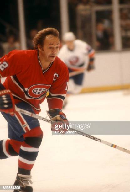 Yvan Cournoyer of the Montreal Canadiens skates on the ice during an NHL game against the New York Islanders circa 1977 at the Nassau Coliseum in...
