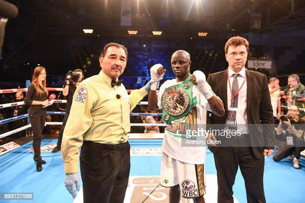 Yvan Mendy celebrates his victory during the event No Limit Levallois at Salle Marcel Cerdan on December 14 2017 in Paris France
