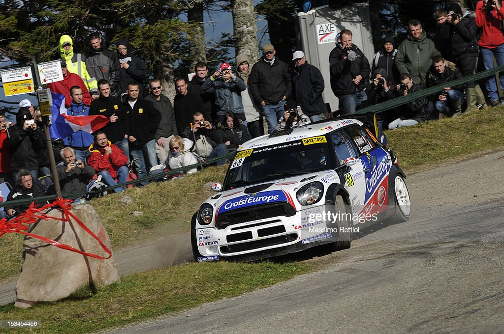 Yvan Muller of France and Guy Leneveu of France compete in their Mini John Cooper Works WRC during Day One of the WRC Rally of France on October 05, 2012 in Strasbourg, France.