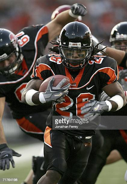 Yvenson Bernard of the Oregon State Beavers runs for a touchdown against the Eastern Washington Eagles on August 31, 2006 at Reser Stadium in...
