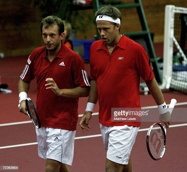 Yves Allegro of Switzerland and Robert Lindstedt of Sweden in action against David Ferrer and Albert Montanes of Spain during the ATP Davidoff Swiss...