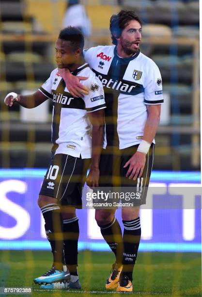 Yves Baraye of Parma Calcio celebrates after scoring goal during the Serie B match between Parma Calcio and Ascoli Picchio at Stadio Ennio Tardini on...