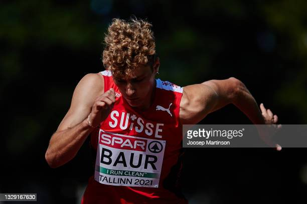 Yves Baur of Switzerland competes in the Decathlon Long Jump during European Athletics U20 Championships Day 3 at Kadriorg Stadium on July 17, 2021...