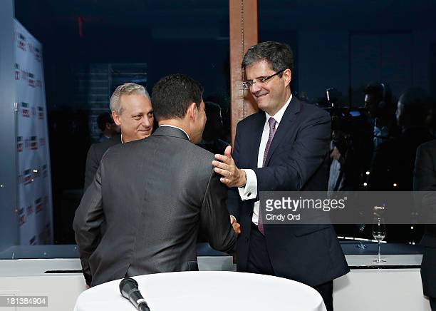 Yves Bigot Ruben Mendiola and Francois Delattre attend the TV5MONDE Cinema On Demand Celebration at A Voce Columbus on September 20 2013 in New York...
