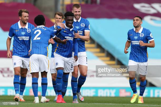 Yves Bissouma of Brighton and Hove Albion celebrates after scoring a goal to make it 0-1 during the Premier League match between Burnley FC and...