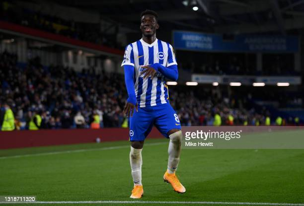 Yves Bissouma of Brighton and Hove Albion celebrates following the Premier League match between Brighton & Hove Albion and Manchester City at...