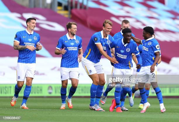 Yves Bissouma of Brighton and Hove Albion celebrates with his team after scoring the opening goal during the Premier League match between Burnley FC...