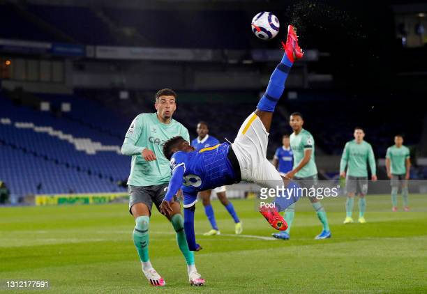 Yves Bissouma of Brighton and Hove Albion has a shot on goal from an overhead kick during the Premier League match between Brighton & Hove Albion and...