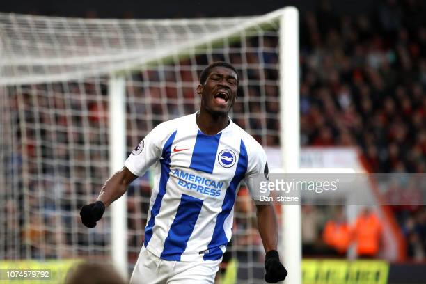 Yves Bissouma of Brighton and Hove Albion reacts during the Premier League match between AFC Bournemouth and Brighton & Hove Albion at Vitality...