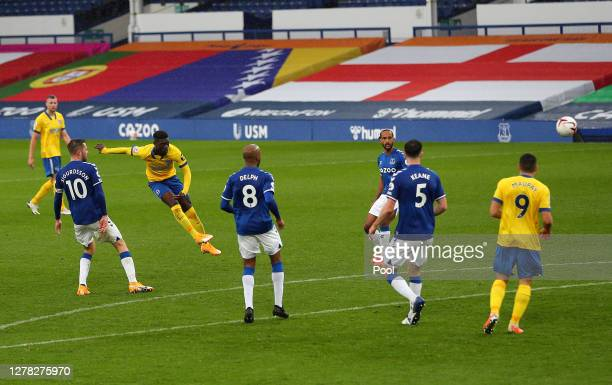 Yves Bissouma of Brighton and Hove Albion scores his team's second goal during the Premier League match between Everton and Brighton & Hove Albion at...