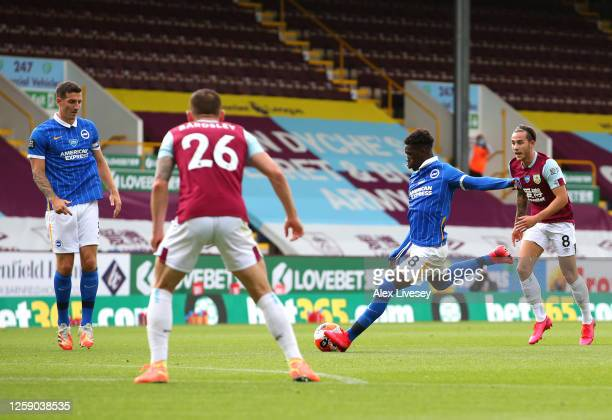 Yves Bissouma of Brighton and Hove Albion scores the opening goal during the Premier League match between Burnley FC and Brighton Hove Albion at Turf...