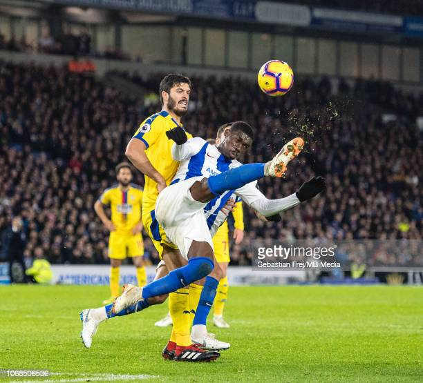 Yves Bissouma of Brighton Hove Albion and James Tomkins of Crystal Palace during the Premier League match between Brighton Hove Albion and Crystal...