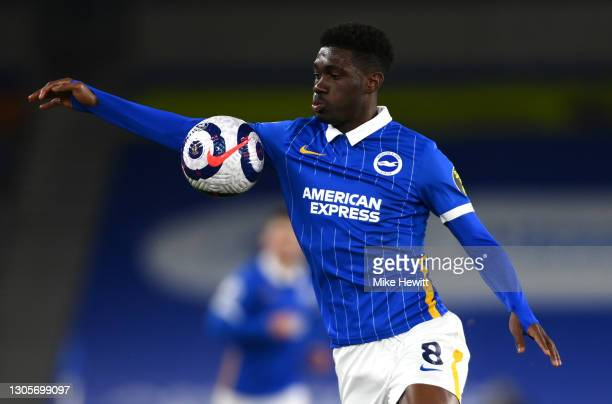 Yves Bissouma of Brighton & Hove Albion controls the ball during the Premier League match between Brighton & Hove Albion and Leicester City at...