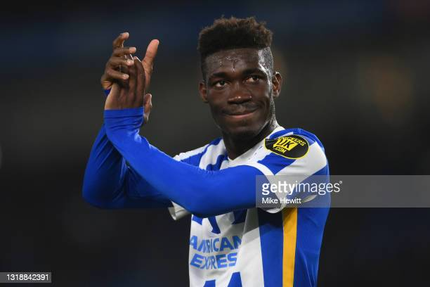 Yves Bissouma of Brighton & Hove Albion enjoys the crowd's applause at the end of the Premier League match between Brighton & Hove Albion and...