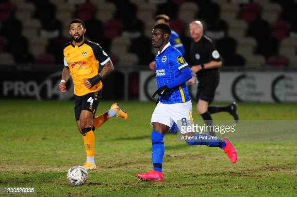 Yves Bissouma of Brighton & Hove Albion in action during the FA Cup Third Round match between Newport County and Brighton And Hove Albion at Rodney...
