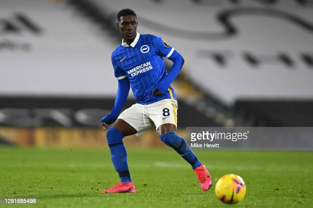 Yves Bissouma of Brighton & Hove Albion in action during the Premier League match between Fulham and Brighton & Hove Albion at Craven Cottage on...