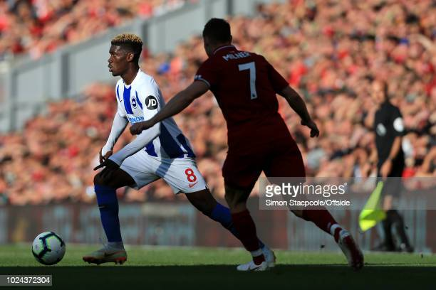 Yves Bissouma of Brighton in action during the Premier League match between Liverpool and Brighton & Hove Albion at Anfield on August 25, 2018 in...
