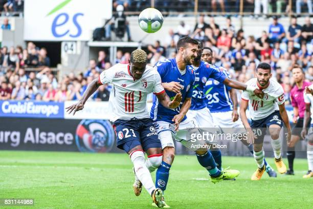 Yves Bissouma of Lille and Benjamin Corgnet of Strasbourg during the Ligue 1 match between Racing Club Strasbourg and Lille OSC at Stade de la Meinau...
