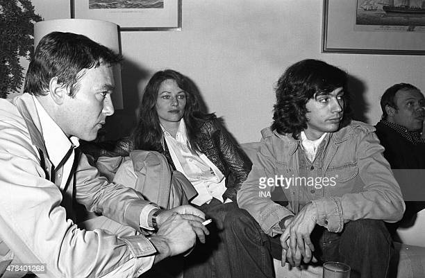 Yves Boisset, Charlotte Rampling and Jean Michel Jarre in a lounge of the SFP before a passage in the studio broadcast during the Cannes film festival