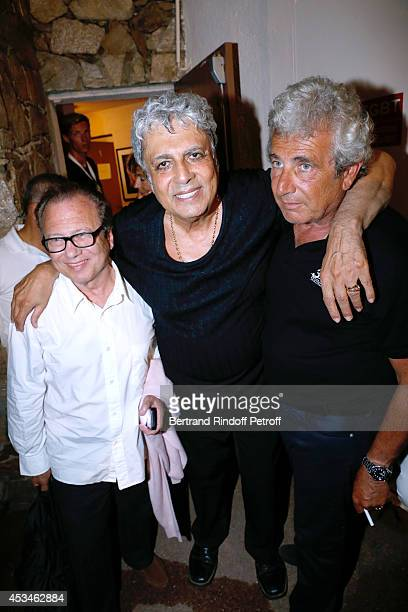 Yves Boujenah Enrico Macias and Artistic Director of the Festival Michel Boujenah pose after the concert of singer Enrico Macias at the 30th...
