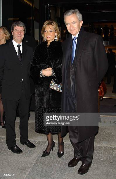 Yves Carcelle, Hellen Arnault and Bernard Arnault attend the opening of a Louis Vuitton store and 150th anniversary celebration at 57th Street and...