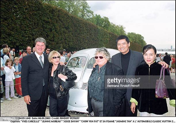 Yves Carcelle Jeanne Moreau Josee Dayan Chow Yun Fat and his wife Jasmine Tan at the Classic Automotive Vuitton 2003 at the national domain of Saint...