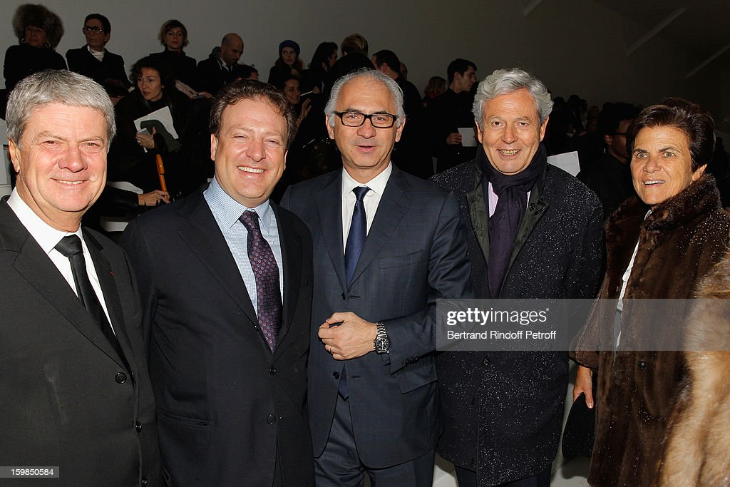 Yves Carcelle, Maurizio Borletti, Paolo de Cesare, Philippe Houze and his wife Christiane attend the Christian Dior Spring/Summer 2013 Haute-Couture show as part of Paris Fashion Week at on January 21, 2013 in Paris, France.