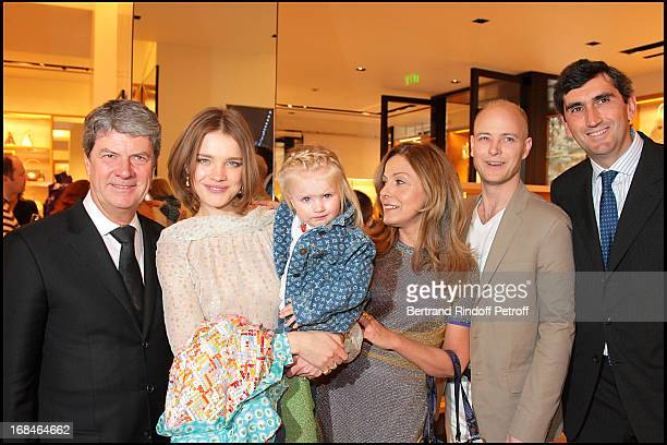 Yves Carcelle Natalia Vodianova and daughter Neva Sati Spivakova Lord Justin Portman Jean Marc Gallot at The Reopening Of Louis Vuitton Store In...