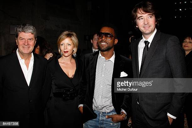 Yves Carcelle Rebecca Carcelle Kanye West and Antoine Arnault attends the Givenchy fashion show during Paris Fashion Week Haute Couture Spring/Summer...