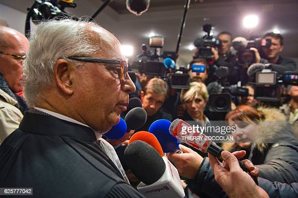 Yves Crespin lawyer of a civil party speaks to the press after the verdict on the 10th day of the trial of Cecile Bourgeon and her excompanion...