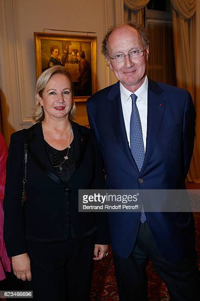 "Yves de Gaulle and his wife Laurence attend the Reception for the ""King of Belgians Day"" at Belgium Ambassy on November 15, 2016 in Paris, France."