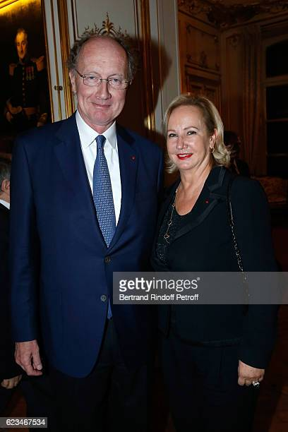 Yves de Gaulle and his wife Laurence attend the Reception for the King of Belgians Day at Belgium Ambassy on November 15 2016 in Paris France